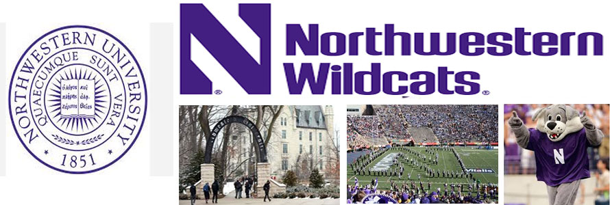 Northwestern University header image created by everything doormats featuring images of the school seal, name, mascot, logo campus and other images.