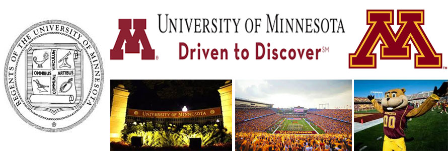 University of Minnesota header image created by everything doormats featuring images of the school seal, name, mascot, logo campus and other images.