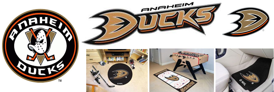 Anaheim Ducks header image created by everything doormats featuring images products offered on our website, the teams' logo and name.