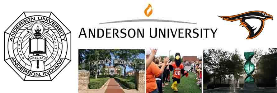 Anderson University Crest, school logo for the ravens and campus pictures.