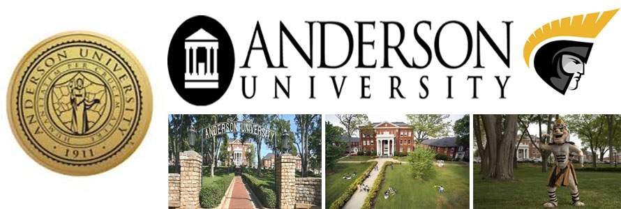 Anderson University Trojans header image created by everything doormats featuring images of the school seal, name, mascot, logo campus and other images.