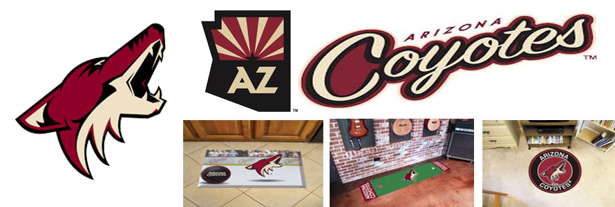 Arizona Coyotes NHL hockey team picutes of their logo, team, arena and mascot by Everything Doormats.