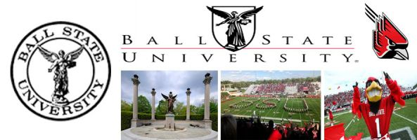 Ball State University Cardinals school crest, logo and name with images of band, cardinals mascot and campus locations made by everything doormats.