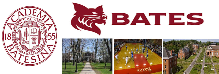 Bates College Bobcats header image created by everything doormats featuring images of the school seal, name, mascot, logo campus and other images.