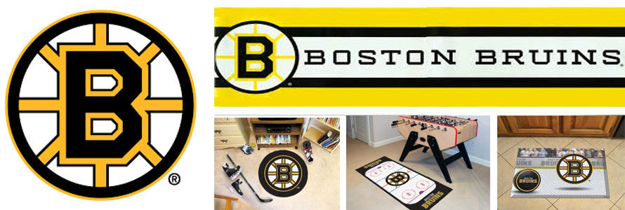Boston Bruins header image created by everything doormats featuring images products offered on our website, the teams' logo and name.
