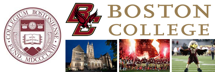 Boston College Eagles header image for the Everything Doormats website featuring images of the campus, football team, mascot and seal.