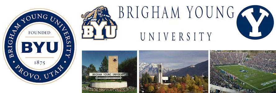 Brigham Young University crest, school logo and mascot logo, campus image,football stadium and location picture by everything doormats.