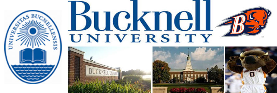 Bucknell University header image created by everything doormats featuring images of the school seal, name, mascot, logo campus and other images.