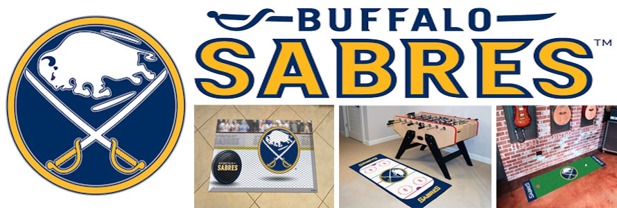 Buffalo Sabres header image created by everything doormats featuring images products offered on our website, the teams' logo and name.