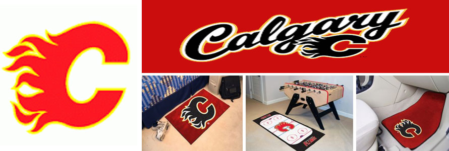Calgary Flames header image created by everything doormats featuring images products offered on our website, the teams' logo and name.