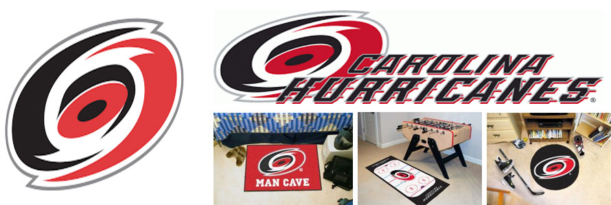 Carolina Hurricanes header image created by everything doormats featuring images products offered on our website, the teams' logo and name.
