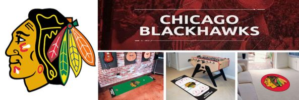Chicago Blackhawks header image created by everything doormats featuring images products offered on our website, the teams' logo and name.