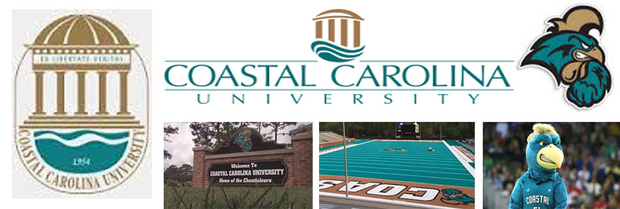 Coastal Carolina University Chanticleers header image created by everything doormats featuring images of the school seal, name, mascot, logo campus and other images.