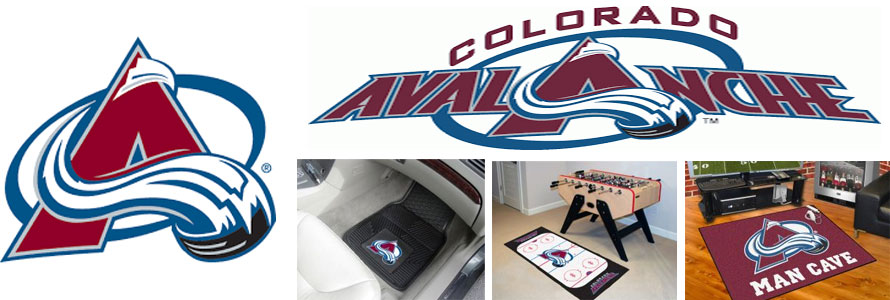 Colorado Avalanche header image created by everything doormats featuring images products offered on our website, the teams' logo and name.