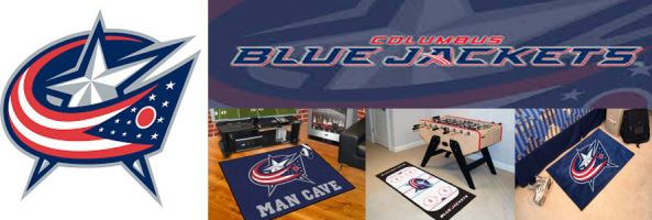 Columbus Blue Jackets header image created by everything doormats featuring images products offered on our website, the teams' logo and name.