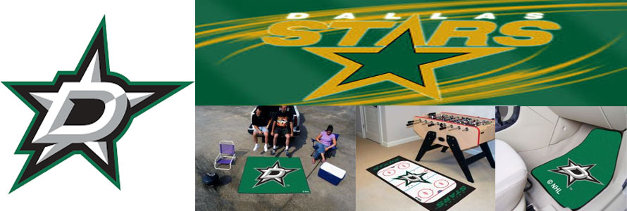 Dallas Stars header image created by everything doormats featuring images products offered on our website, the teams' logo and name.