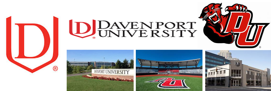 Davenport University logo, mascot and campus images.