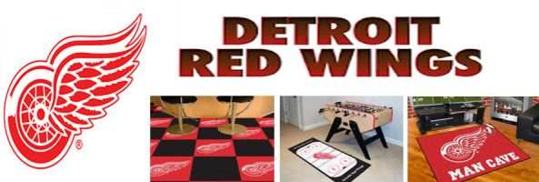 Detroit Red Wings header image created by everything doormats featuring images products offered on our website, the teams' logo and name.