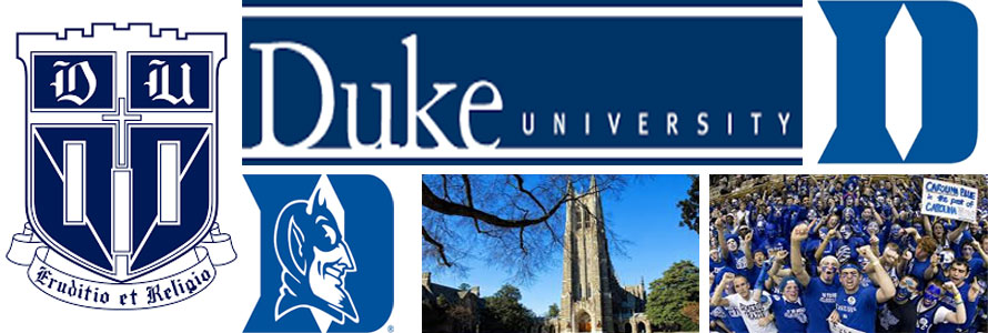 Duke University header image created by everything doormats featuring images of the school seal, logos, campus and other images.