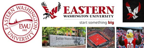 Eastern Washington University header image created by everything doormats featuring images of the school seal, name, mascot, logo campus and other images.