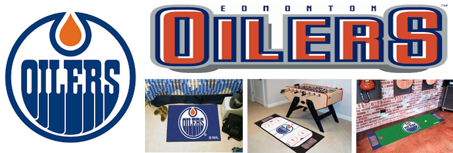 Edmonton Oilers header image created by everything doormats featuring images products offered on our website, the teams' logo and name.