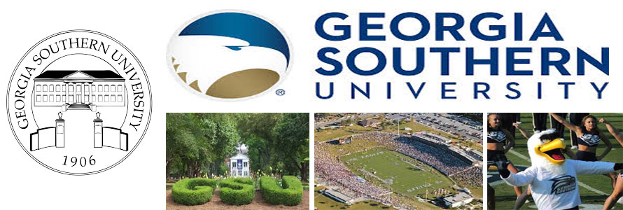 Georgia Southern University crest, sweatheart circle, football stadium and mascot in an image by everything doormats.