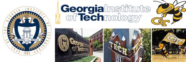 Georgia Tech Yellow Jackets crest, school sign & buildings, mascot and log header image by everythingdoormats.