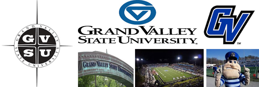 Grand Valley State University header image created by everything doormats featuring images of the school seal, name, mascot, logo campus and other images.