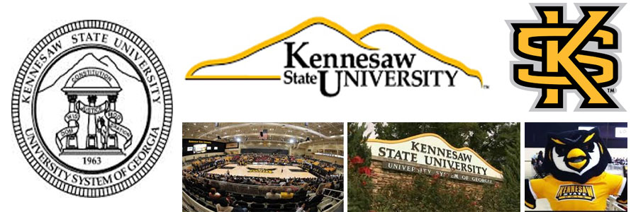 Kennesaw State University Owls school creast, logo, mascot and campus images by Everything Doormats.