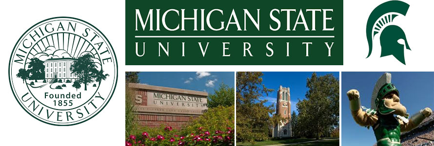 Michigan State University Spartans header image with crest, school logo, sign, campus buildings and mascot by everything doormats.