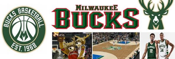 Milwaukee Bucks logo, basketball court and stadium, as well as player images and mascot image.