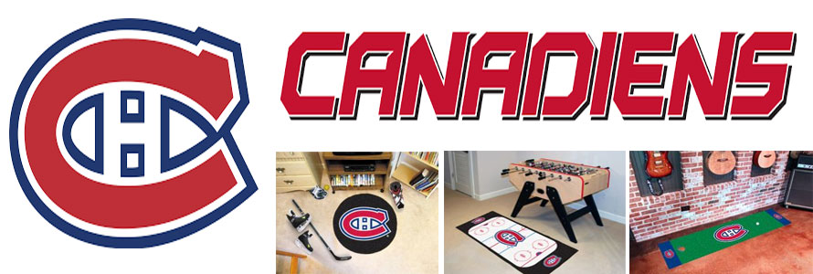 Montreal Canadiens header image created by everything doormats featuring images products offered on our website, the teams' logo and name.