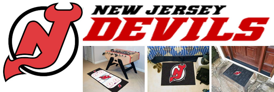 New Jersey Devils header image created by everything doormats featuring images products offered on our website, the teams' logo and name.