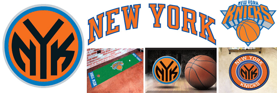 New York Knicks header image created by everything doormats featuring images products offered on our website, the teams' logo and name.