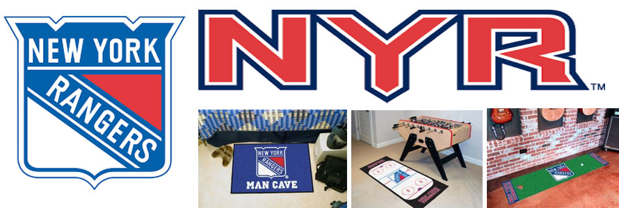 New York Rangers header image created by everything doormats featuring images products offered on our website, the teams' logo and name.