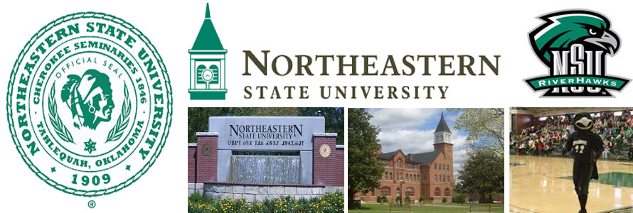 Northeastern State University header image created by everything doormats featuring images of the school seal, name, mascot, logo campus and other images.