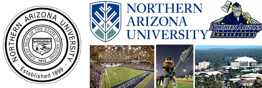 Northern Arizona University header image created by everything doormats featuring images of the school seal, name, mascot, logo campus and other images.