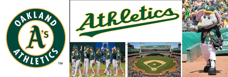 Oakland Athletics header image created by everything doormats featuring images of the team logo, name, mascot, stadium and players,