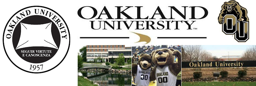 Oakland University crest, school logo and mascot including pictures from campus
