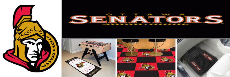 Ottawa Senators header image created by everything doormats featuring images products offered on our website, the teams' logo and name.