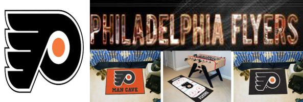Philadelphia Flyers header image created by everything doormats featuring images products offered on our website, the teams' logo and name.