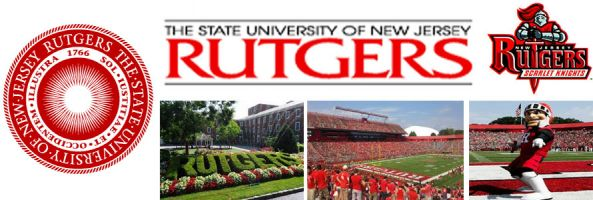 Rutgers University header image created by everything doormats featuring images of the school seal, name, mascot, logo campus and other images.