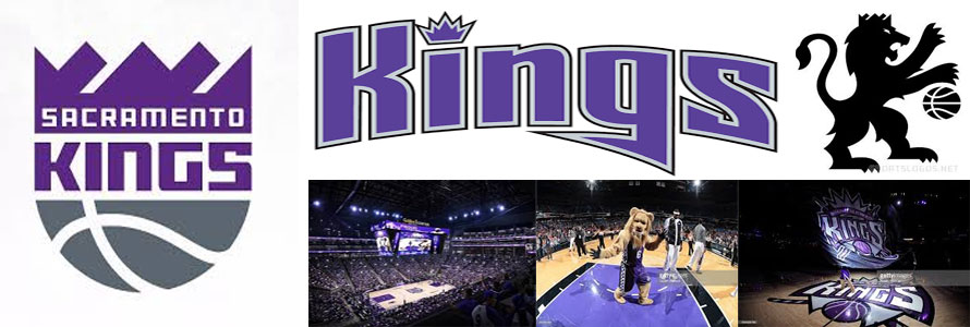 Sacramento Kings header image created by everything doormats featuring images of the team logo, name, mascot, arena and players.