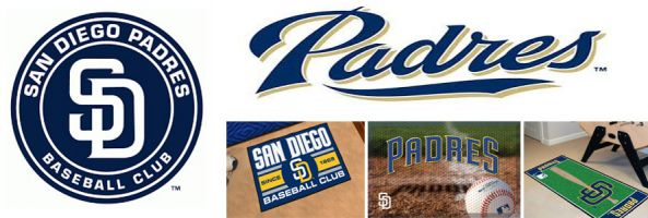 San Diego Padres header image created by everything doormats featuring images of the team logo, name, mascot, stadium and players.