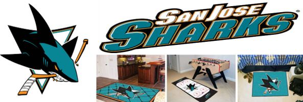San Jose Sharks header image created by everything doormats featuring images products offered on our website, the teams' logo and name.