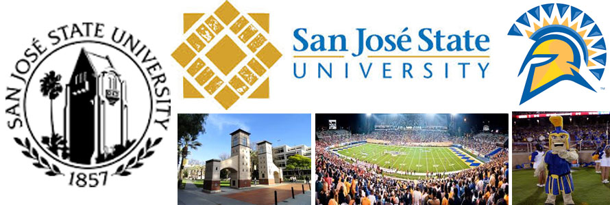 San Jose State University header image created by everything doormats featuring images of the school seal, name, mascot, logo campus and other images.