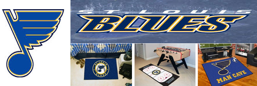 St Louis Blues header image created by everything doormats featuring images products offered on our website, the teams' logo and name.