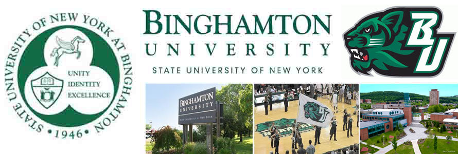 State University of New York at Binghamton crest, logo, seal and campus images.