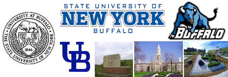 SUNY Buffalo crest, logo, mascot and campus images for the Buffalo Bulls.