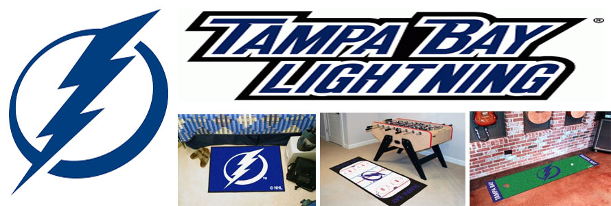 Tampa Bay Lightning header image created by everything doormats featuring images products offered on our website, the teams' logo and name.